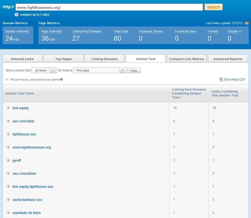 Open Site Explorer Screen Shot