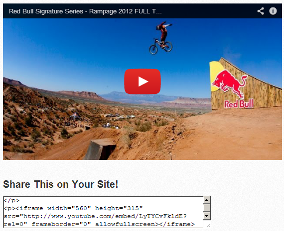 Video Embed Code Example