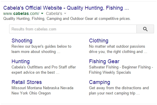 cabelas sitelinks search example