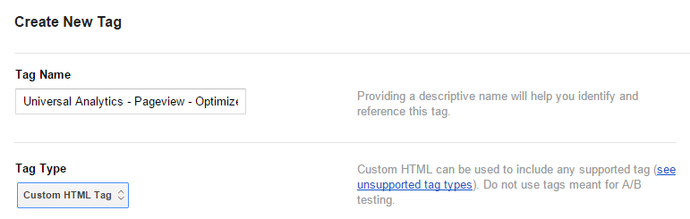 Create New Custom HTML Tag GTM