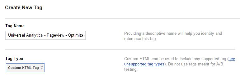 Create New Custom HTML Tag GTM