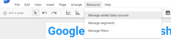 Google Data Studio - Manage Added data sources
