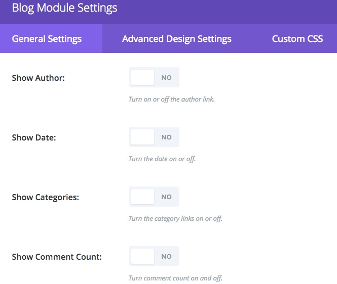 Set Divi Blog Module Settings