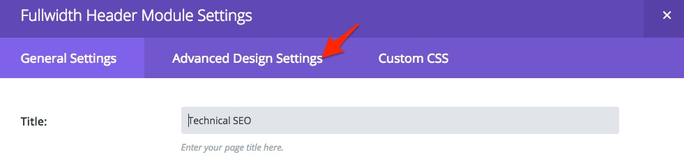 Divi Advanced Design Settings